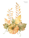 Watercolor vector autumn bouquet of leaves, branches and pumpkins isolated on white background. - 168581527