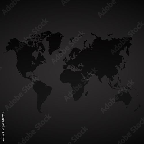 Fototapeta Vector dark world map background