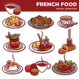 French cuisine food dishes for restaurant menu vector icons - 168581970