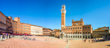 Panorama of Piazza del Campo (Campo square), Palazzo Publico and Torre del Mangia (Mangia tower) in Siena, Tuscany, Italy - 168582774