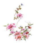 watercolor painting of leaves and flower, on white background - 168583760
