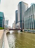 Monroe Adams Street Bridge in Chicago, cityscape with skyscrapers, USA