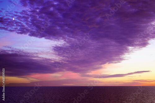 Fotobehang Aubergine Beautiful sunset over Baltic Sea - seascape with sea horizon