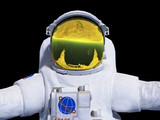 Astronaut posing on black background 3d render image - 168593113