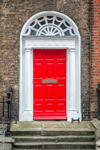 Red classic door in Dublin, example of georgian typical architecture of Dublin, Poster