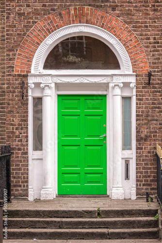 Green classic door in Dublin, example of georgian typical architecture of Dublin Poster