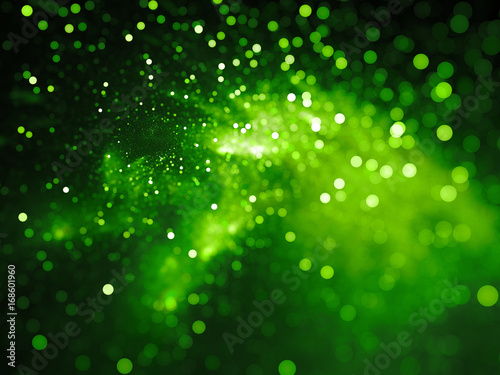 Green glowing nebula with stars in bokeh, depth of field
