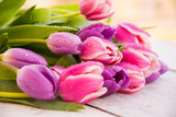 Bouquet of pink and violet tulip flowers