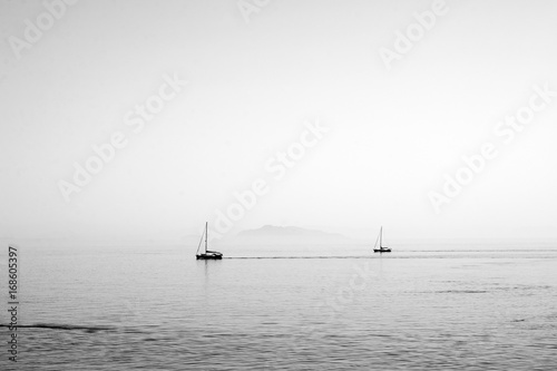 Sailing boat wallpaper - black and white, sea, summer - 168605397