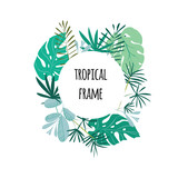 Round tropical frame, template with place for text. Vector illustration, isolated on white background. - 168605543