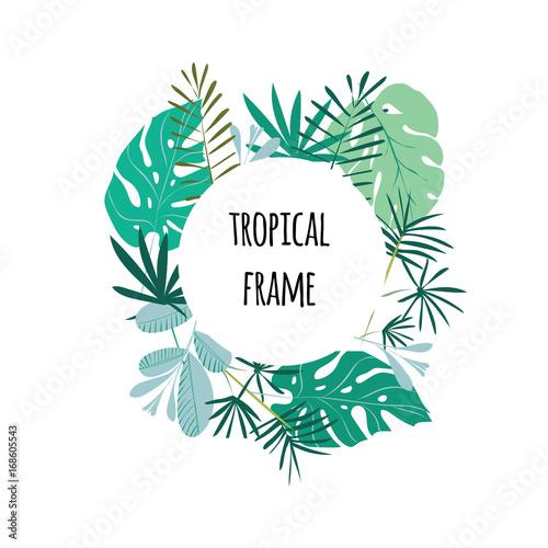 Okrągłe ramki tropikalne, szablon z miejscem na tekst. Ilustracja wektorowa, na białym tle.