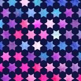 Watercolor abstract geometric pattern. Arab tiles. Kaleidoscope effect. Watercolor mosaic. - 168605918