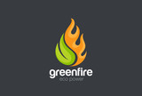 Eco Green Alternative Energy Logo vector Leaf Fire flame droplet
