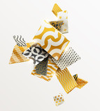 Composition of gold and black 3D rectangles. Abstract vector illustration. - 168610931