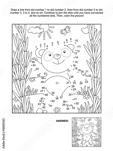 Fototapeta Panda bear in bamboo forest connect the dots picture puzzle and coloring page. Answer included.