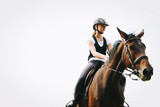 Picture of young pretty girl riding horse - 168614353