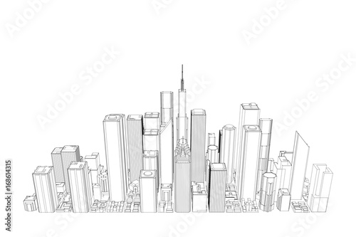 City. Isolated on white background. Sketch illustration.
