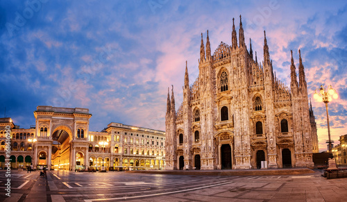 Foto op Canvas Milan Milan Cathedral on sunrise, Italy