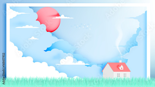 Spoed canvasdoek 2cm dik Lichtblauw House in Spring Summer season in paper art style with pastel color scheme