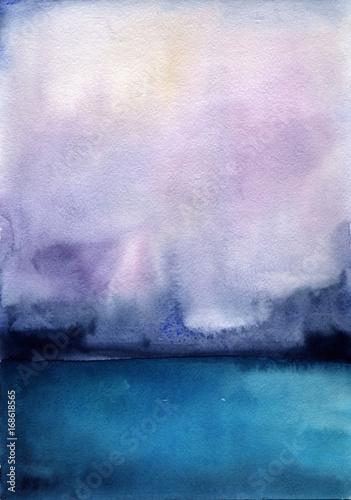 Aluminium Purper Watercolor landscape sky clouds