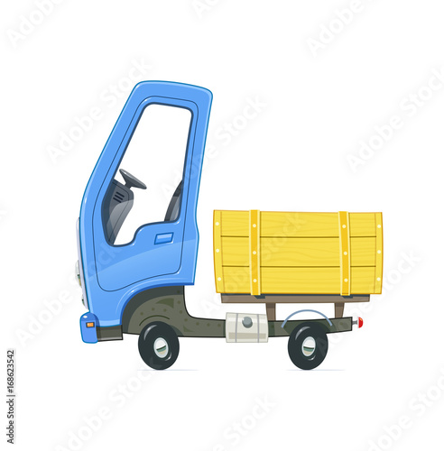 Fotobehang Auto Small Truck. Lorry with blue cabin. Cartoon auto. Delivery