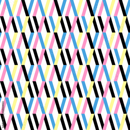 Simple geometric pattern texture. Seamless background. Seamless repeating retro style texture set with rhombus.
