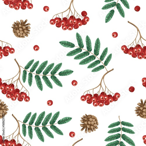 Materiał do szycia Autumn seamless pattern with rowan leaves and berries.