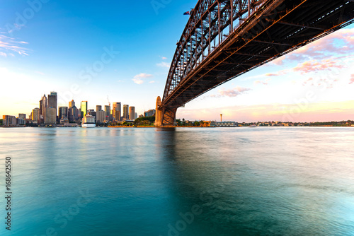 Sydney skyline and harbor bridge during sunrise, New South Wales Australia Poster