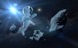 cute white cartoon astronaut flying between asteroids in zero gravity space - 168644597