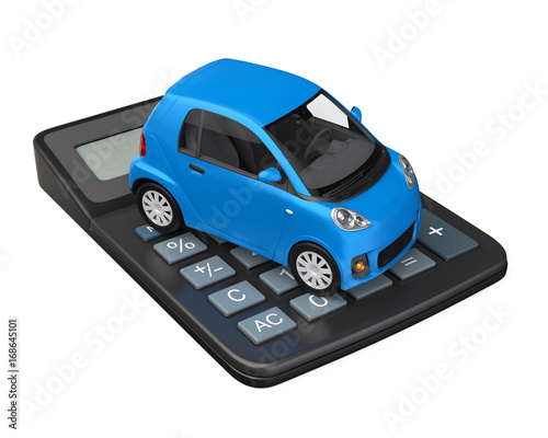 Sticker Car and Calculator Isolated