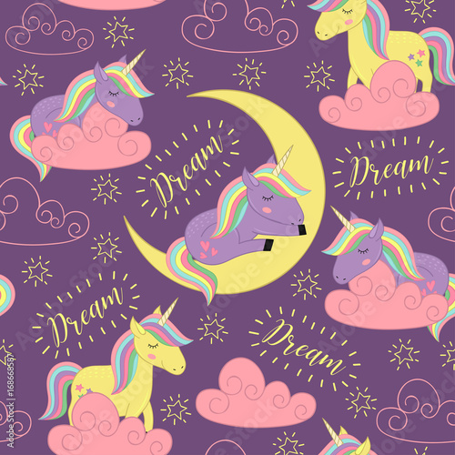 Cotton fabric seamless pattern with sleeping unicorn  - vector illustration, eps