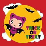 Cute bat girl flies with bats on moon background vector cartoon illustration for halloween card design, wallpaper and kid t-shirt design