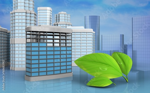 Wall mural 3d with urban scene