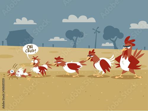 Fotobehang Boerderij Pecking Order