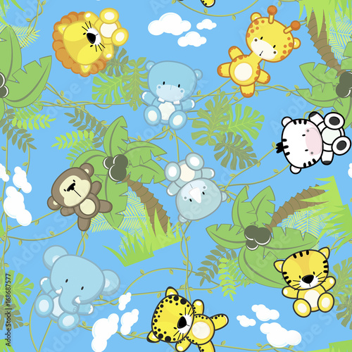 illustration of seamless pattern with cute safari baby animals with jungle plants, design for children on blue background, ideal for nursery art decoration or scrapbook projects