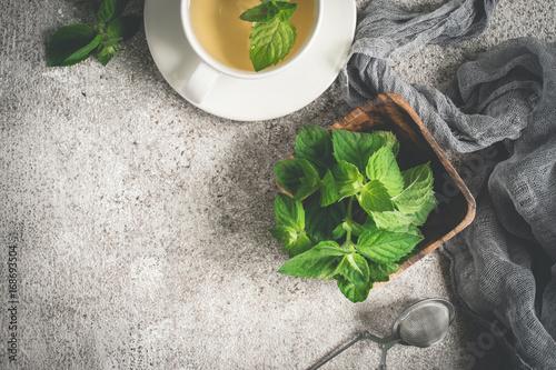 Świeża organicznie nowa herbata i mennica na szarym tle