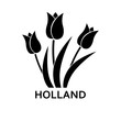 Tulips with Holland lettering simple icon