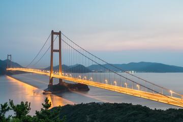 zhoushan xihoumen bridge in nightfall