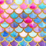 Mermaid scales. Watercolor fish scales. Bright summer pattern with reptilian scales. Gold background. - 168700702