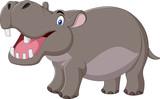 Cartoon smiling hippo isolated on white background