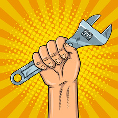 Adjustable wrench pop art vector illustration