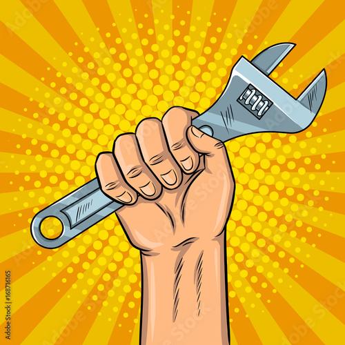 Fotobehang Pop Art Adjustable wrench pop art vector illustration