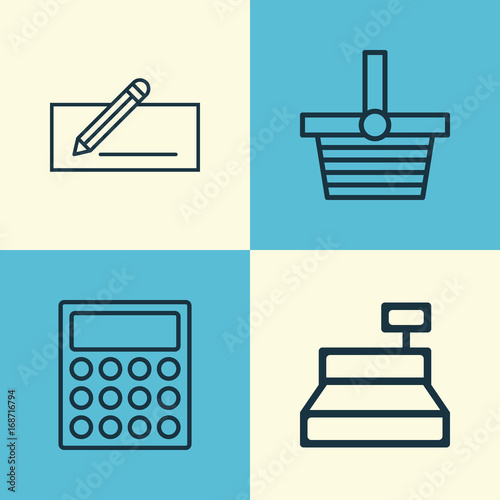 Collection Of Money Transfer Till Calculator And Other Elements