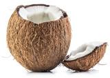 Cracked coconut fruit.