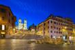 Night view of Spanish Steps and  Fontana della Barcaccia in Rome, Italy.