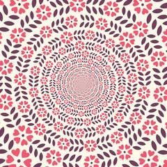 Spiral 3D flowers circle