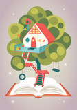 Magical house on a tree growing from an opened book - 168721513