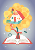 Wonderful fairytale house on a tree growing from opened book - 168721593
