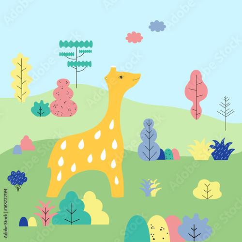 Cute cartoon giraffe in a wildlife surroundings