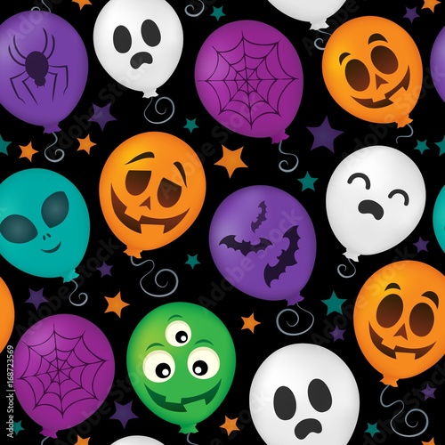 Cotton fabric Halloween balloons seamless background 1